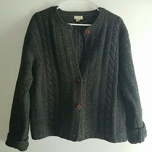 Charcoal Grey-•J.CREW•| Button-Up Cardigan Sweater